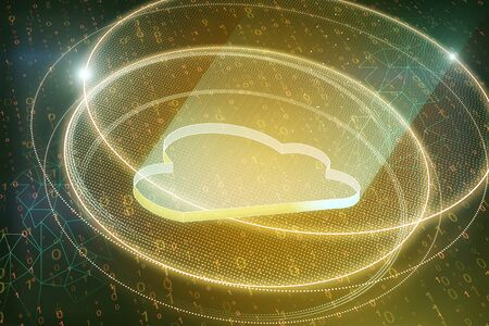 Creative golden cloud on blurry binary code background. Cloud computing and storage concept. 3D Rendering Stock Photo - 128473060