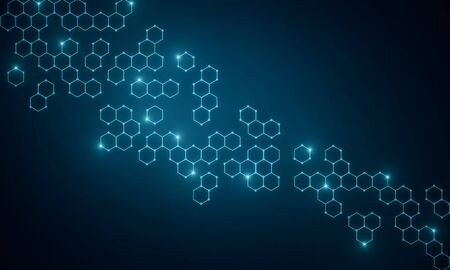 Abstract blue medical chemical wallpaper with hexagons. Medicine, chemistry and science concept. 3D Rendering Фото со стока