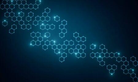 Papier peint chimique médical bleu abstrait avec des hexagones. Concept de médecine, de chimie et de science. Rendu 3D Banque d'images