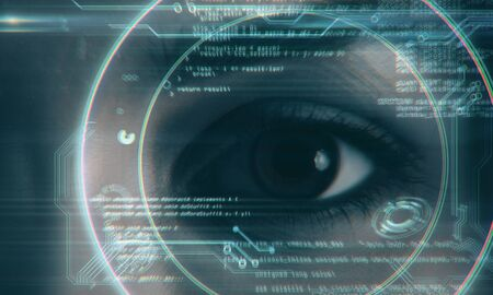 Close up of eye with digital business hud interface. Face ID and biometrics concept. Multiexposure