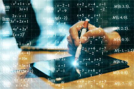 Close up of hands using tablet on abstract blurry background with mathematical formulas. Programming and math concept. Multiexposure