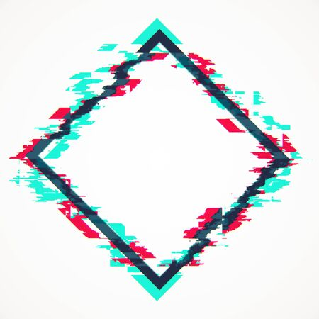Creative rhombus glitch banner on white background. Mock up, 3D Rendering Stock Photo