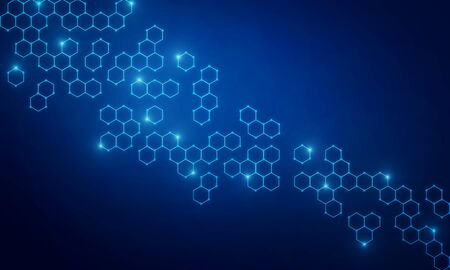 Abstract blue medical chemical texture with hexagons. Medicine, chemistry and science concept. 3D Rendering