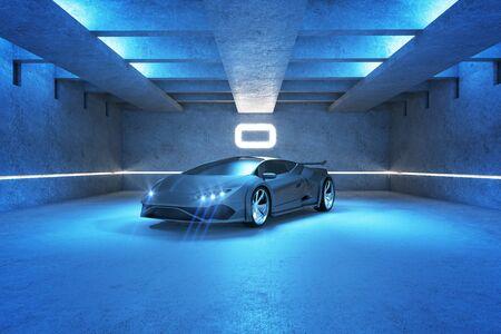 Blauwe vlekkenauto in modern garagebinnenland. Race en vervoer concept. 3D-rendering Stockfoto