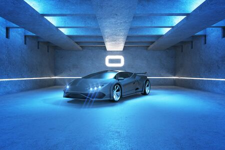Blue spots car in modern garage interior. Race and transport concept. 3D Rendering Archivio Fotografico