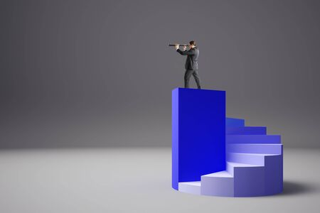 Businessman on top of abstract blue ladder using telescope to look into the distance on grey background. Vision and future concept.