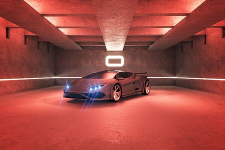 Red spots car in modern garage interior. Race and transport concept. 3D Rendering