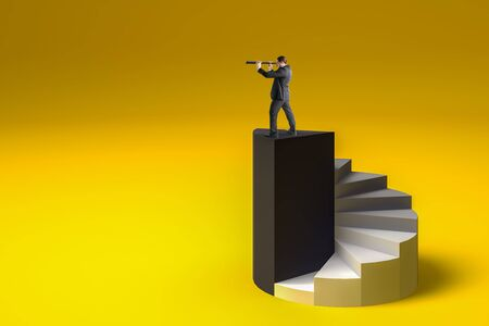 Businessman on top of abstract black ladder using telescope to look into the distance on yellow background. Success and future concept.