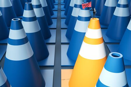 Businessman with victory flag standing on yellow and blue traffic cone. Success and win concept. 3D Rendering