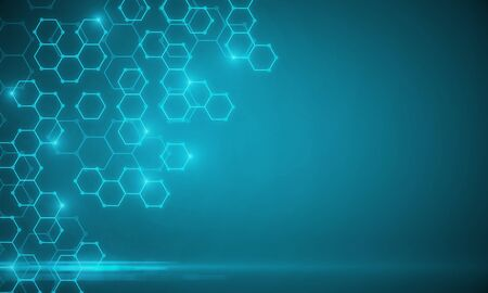 Świecące niebieskie tekstury medyczne chemiczne z sześciokątami. Koncepcja medycyny, chemii i nauki. Renderowanie 3D