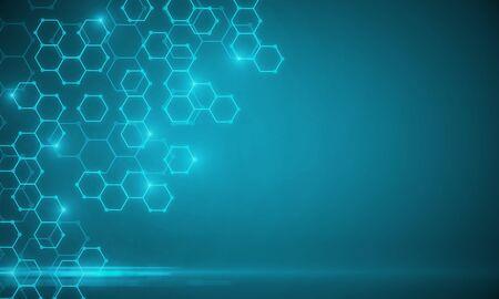 Texture chimica medica blu incandescente con esagoni. Concetto di medicina, chimica e scienza. Rendering 3D