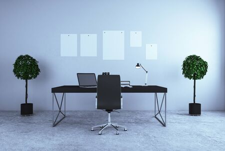 Modern interior with office workplace and decorative pot trees. 3D Rendering Stock Photo - 128473631