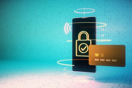 Cellphone with creative padlock interface and credit card. Online shopping and e-commerce concept. 3D Rendering Фото со стока