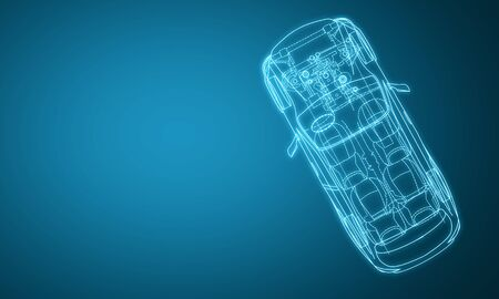 Creative digital blue car design blueprint on gradient backdrop. Engineering and technology concept. 3D Rendering