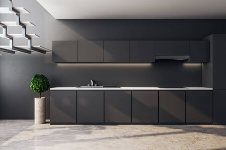 Dark loft kitchen interior with furniture, stairs and sunlight. 3D Rendering
