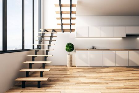 Modern loft kitchen interior with furniture, stairs, city view and sunlight. 3D Rendering Imagens