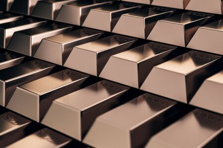 Abstract stacked gold bars wallpaper. Savings and wealth concept. 3D Rendering