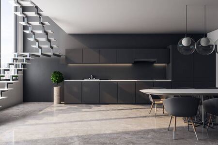 New loft kitchen interior with furniture, stairs, city view and sunlight. 3D Rendering