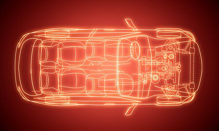 Creative digital red car design blueprint on gradient background. Engineering and technology concept. 3D Rendering Stock fotó