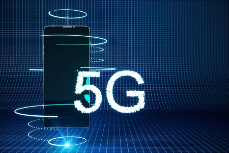 Cellphone with creative 5G interface. Web and speed concept. 3D Rendering Banque d'images - 127135379