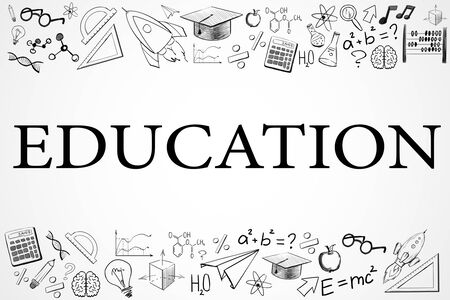 Creative educational sketch on white background with text. Education and science concept, 3D Rendering