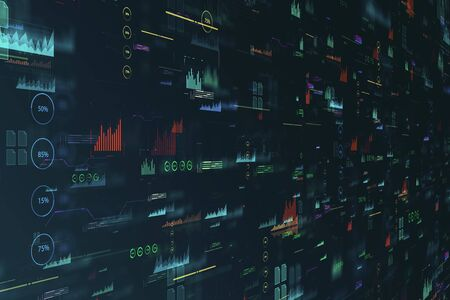 Abstract blurry digital business interface background. Finance and innovation concept. 3D Rendering