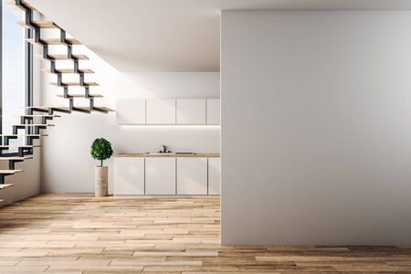 Modern loft kitchen interior with copy space on wall, furniture, stairs, city view and sunlight. 3D Rendering