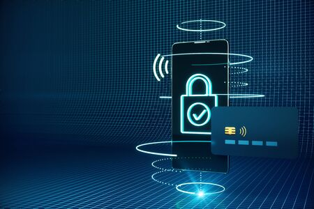 Cellphone with creative padlock interface and credit card. Online shopping and security concept. 3D Rendering