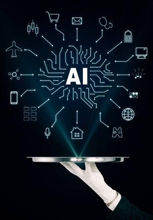 Hand holding tray with creative digital AI sketch on black background. Artificial intelligence and future concept Stock Photo