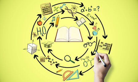 Creative hand drawn education sketch on yellow background. Knowledge and success concept