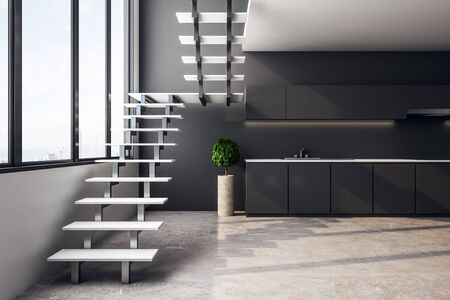 Gray loft kitchen interior with furniture, stairs, city view and sunlight. 3D Rendering