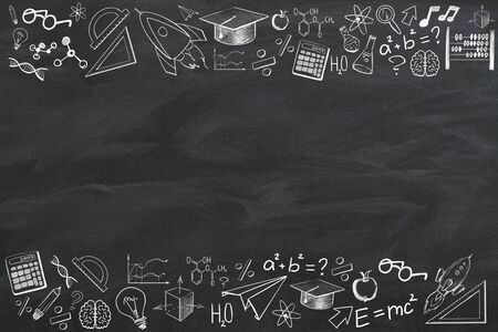 Creative educational sketch on blackboard background with copy space. Education and knowledge concept. 3D Rendering