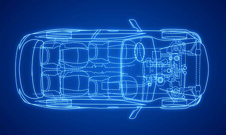 Modelo de diseño de coche azul digital creativo sobre fondo degradado. Concepto de ingeniería y tecnología. Representación 3D Foto de archivo