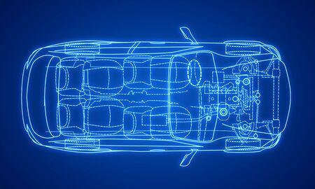 Plan de conception de voiture bleue numérique créative sur fond dégradé. Concept d'ingénierie et de technologie. Rendu 3D Banque d'images