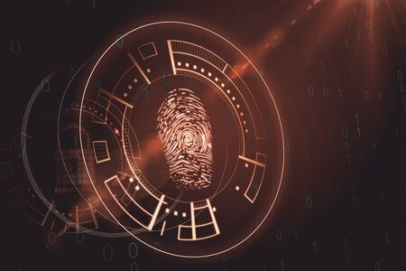Creative blurry amber finger print scan interface. Scanning and ID concept. 3D Rendering 写真素材