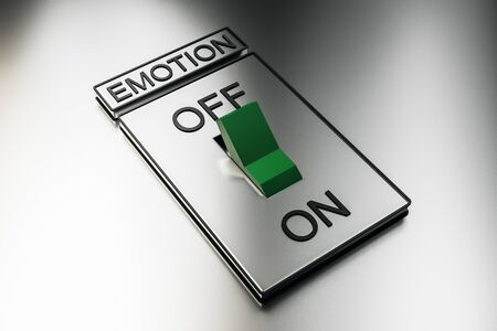 Abstract green on off switch on white background. Emotion and power concept. 3D Rendering
