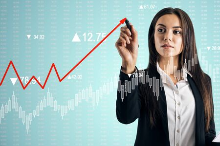 Businesswoman hand drawing creative upward red chart arrow on blue business chart background. Increase and stats concept. Multiexposure Stock Photo