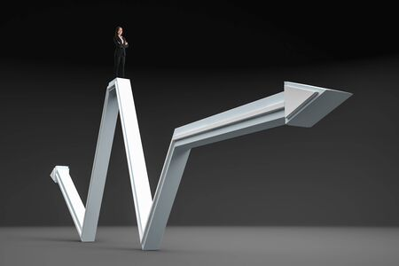Businesswoman standing on abstract gray arrow on gray background. Growth, leadership and development concept Stock Photo