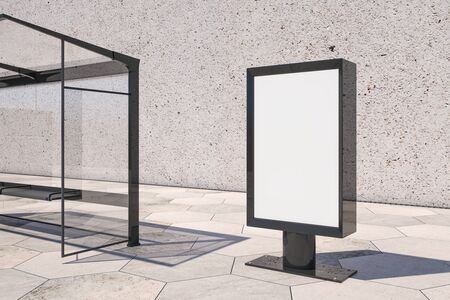 Empty white bus stop ad stand on concrete wall background. Mock up, 3D Rendering