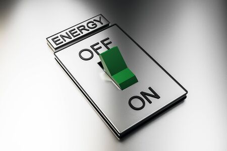 Abstract green on off switch on white background. Energy and power concept. 3D Rendering