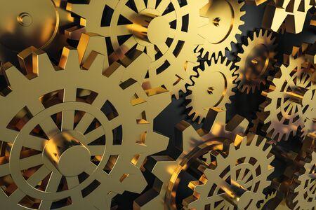 Creative glowing golden cog wheels background. Mechanism and industry concept. 3D Rendering