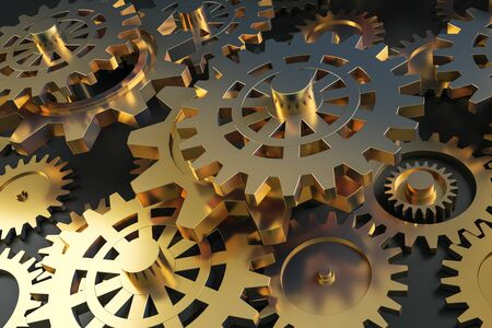 Creative glowing golden gears background. Mechanism and industry concept. 3D Rendering Stock Photo
