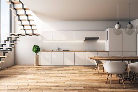 White loft kitchen interior with furniture, stairs, city view and sunlight. 3D Rendering