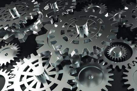 Creative glowing silver cogs background. Mechanism and industry concept. 3D Rendering