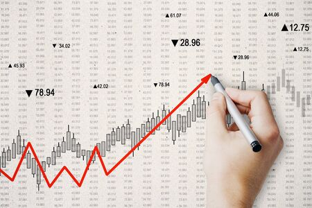 Hand drawing creative upward red chart arrow on subtle background. Increase and forex concept