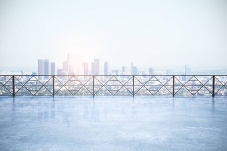 Modern concrete rooftop with New York city view. Urban concept. 3D Rendering Stok Fotoğraf
