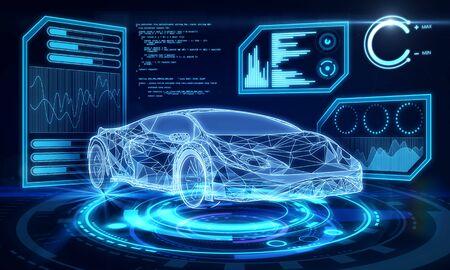 Interfaz de coche azul creativo sobre fondo de pantalla oscuro. Concepto de transporte, ingeniería, futuro y tecnología. Representación 3D