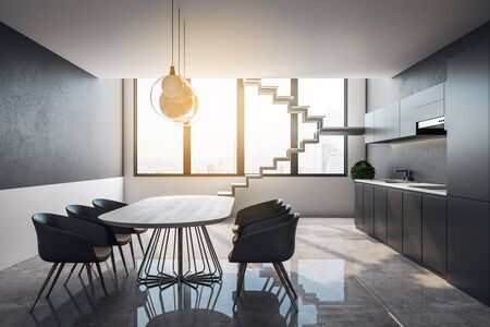 Clean loft kitchen interior with furniture, stairs, city view and sunlight. 3D Rendering