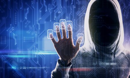 Hacker hand using abstract fingerprint scanning interface on blurry background. Access and malware concept. Double exposure