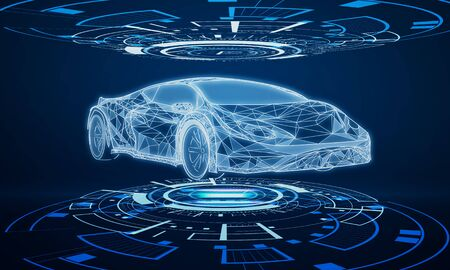 Creative glowing car hologram interface on dark blue background. Transport diagnostics and futuristic technology concept. 3D Rendering